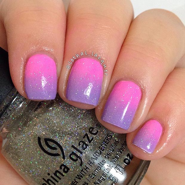 Purple and Pink Gradient Sparkly Nail Design - 80 Nail Designs For Short Nails StayGlam
