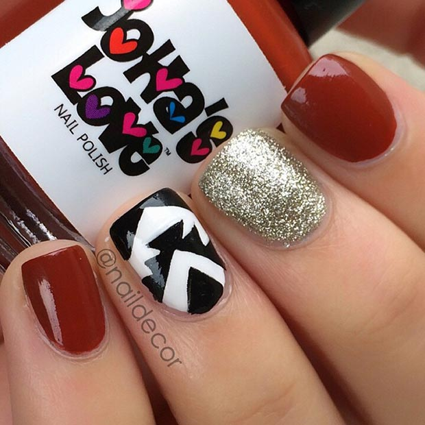 80 nail designs for short nails stayglam red gold and black nail design prinsesfo Images