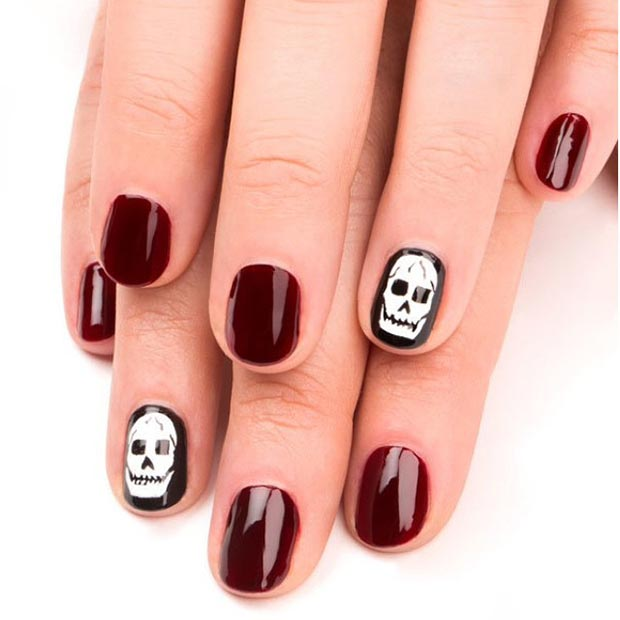 Dark Red Skull Nail Design
