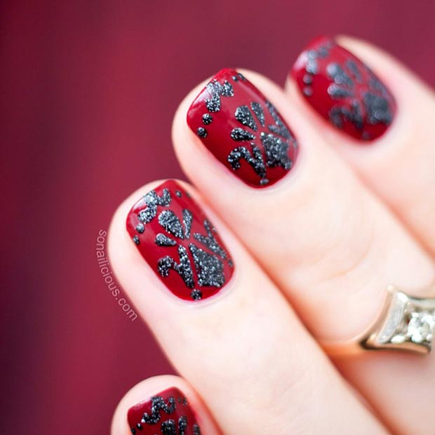 80 nail designs for short nails stayglam red and black baroque nail design prinsesfo Choice Image