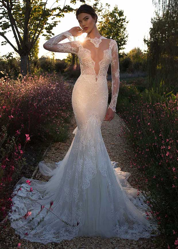 Sheer Plunging Mermaid Wedding Dress