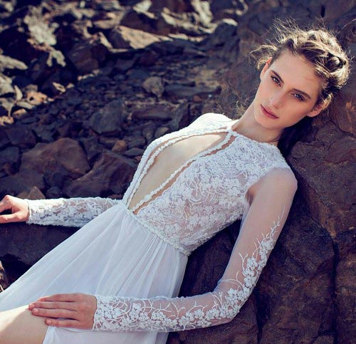 Sheer Plunging Neckline Long Sleeve Sexy Wedding Dress