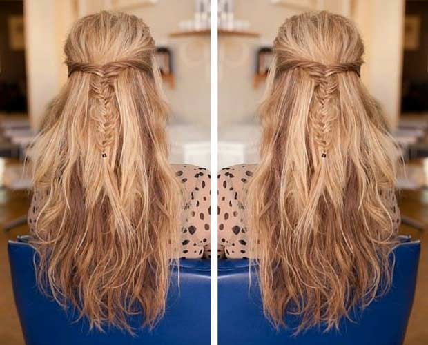 Simple French Fishtail Half Updo