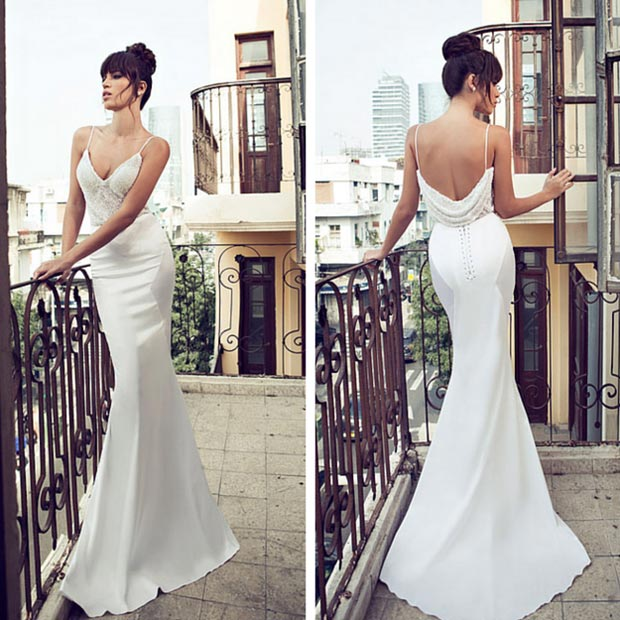 Simple Open Back Wedding Dress
