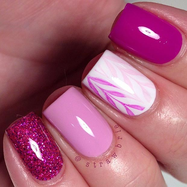 80 nail designs for short nails stayglam pink and white nail design for short nails prinsesfo Choice Image