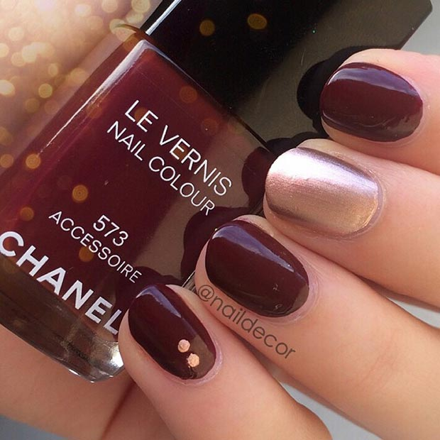 Simple Red Wine and Gold Nail Design - 80 Nail Designs For Short Nails StayGlam