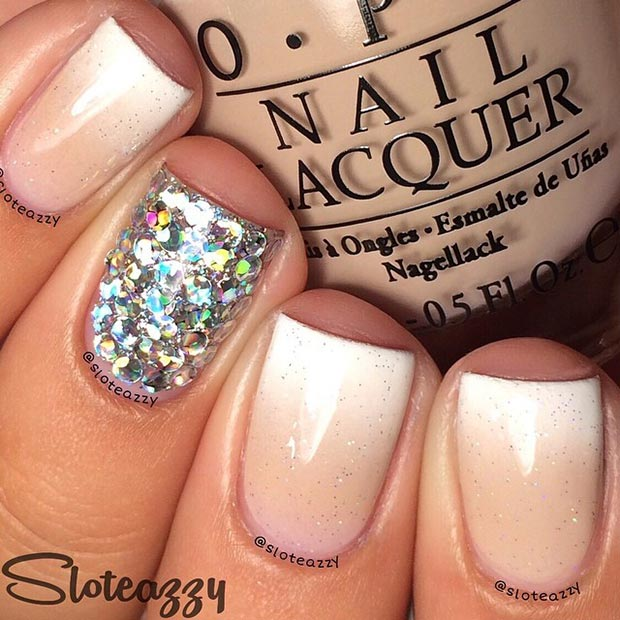 Sparkly Ombre Nude Nails