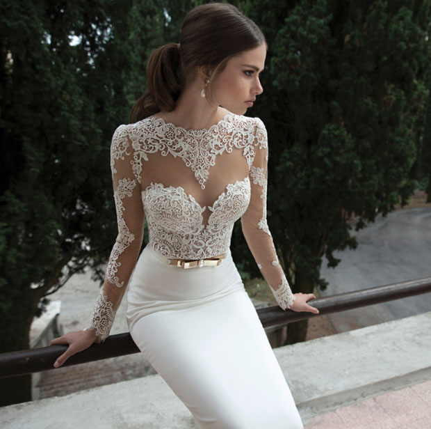 Transparent Lace Top A Line Wedding Dress
