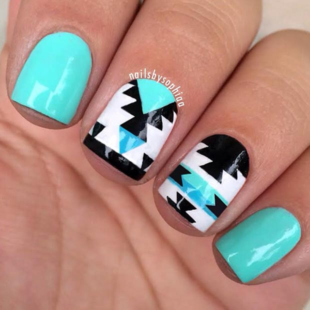 80 nail designs for short nails stayglam turquoise tribal nail design prinsesfo Images