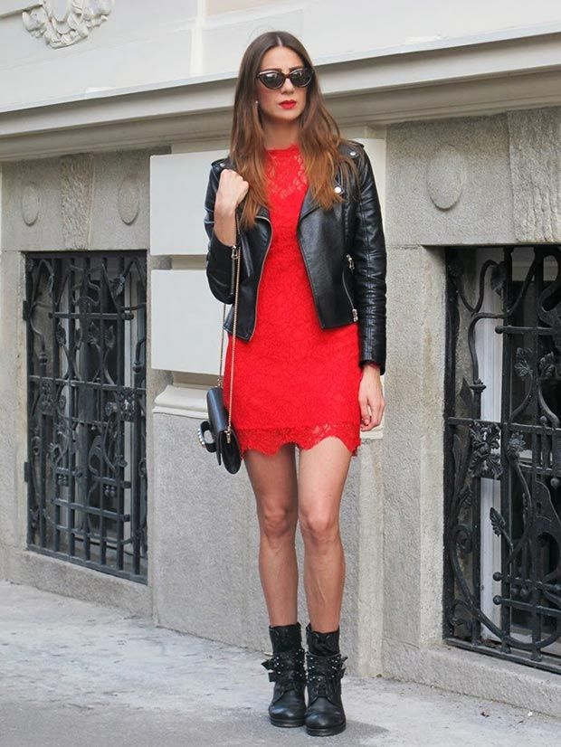 Edgy Red Lace Dress Outfit