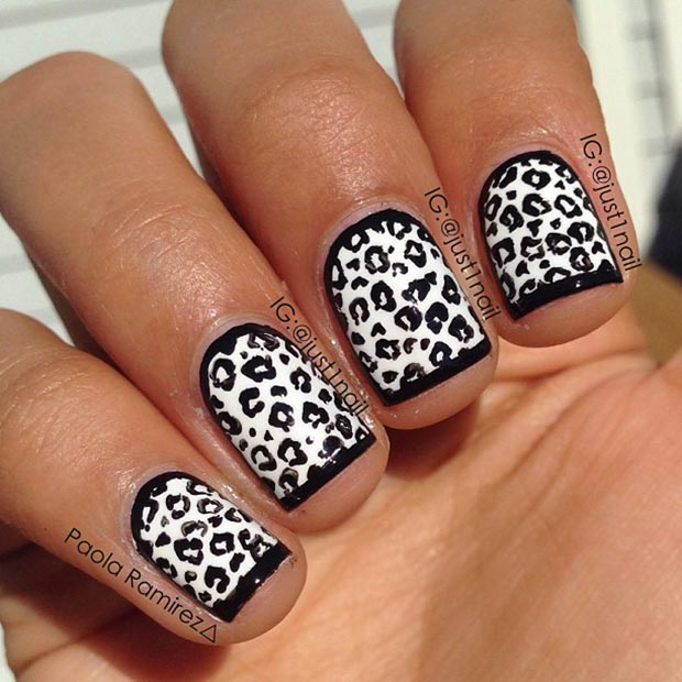 Black And White Cheetah Nails