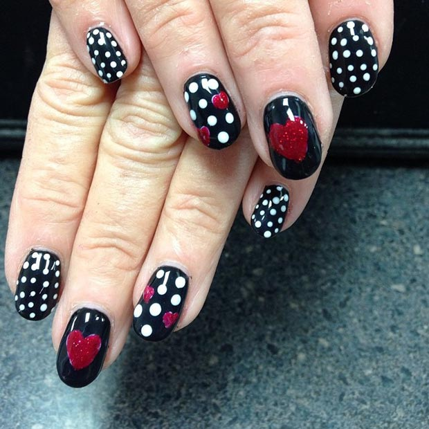 Black Red White Heart Nail Design