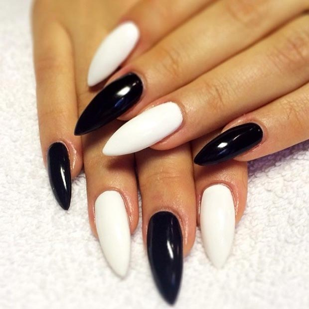 Monochrome Stiletto Nails - 50 Best Black And White Nail Designs StayGlam