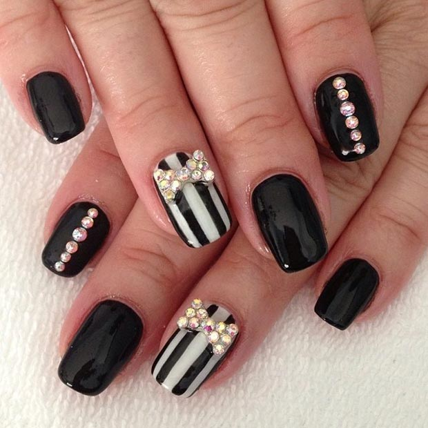 50 best black and white nail designs stayglam striped accent nails prinsesfo Choice Image