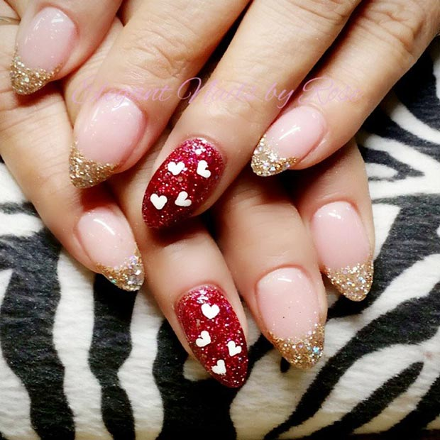 Red and Gold Glitter Nail Design for Valentines