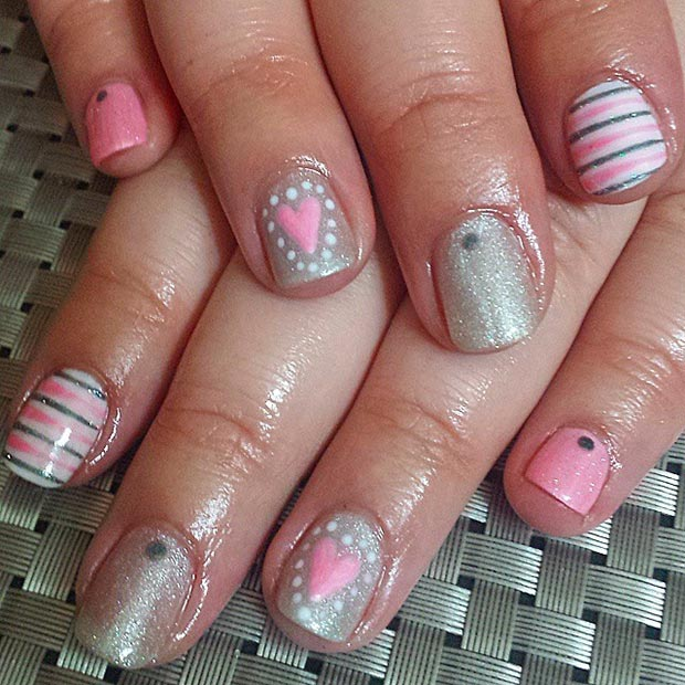 Silver and Pink Valentines Day Nails