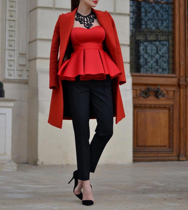 Red Peplum Top Outfit