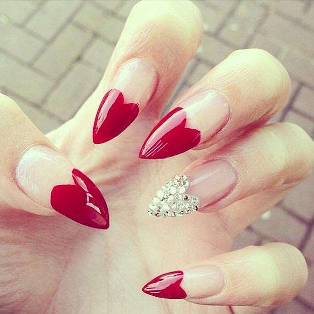 Red Heart Shaped Stiletto Nails