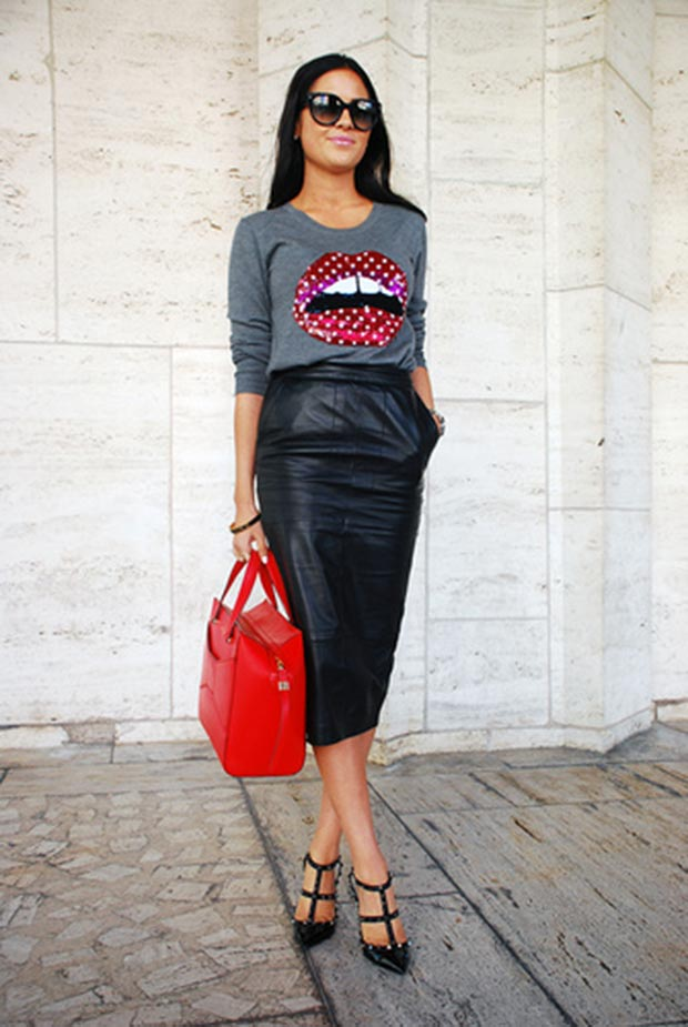 Red Lip Sweater Outfit