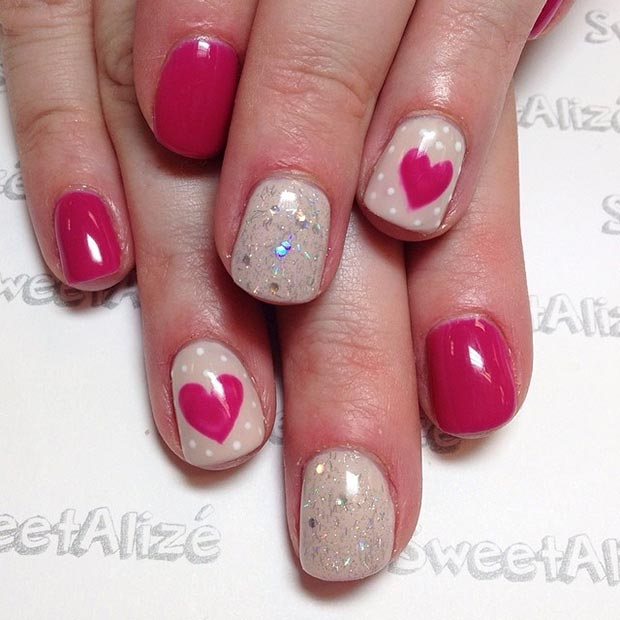 Nude Red Heart Nail Design