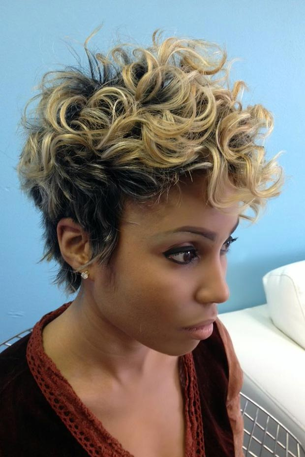 50 short hairstyles for black women stayglam short curly blonde hairstyle for black women urmus Choice Image