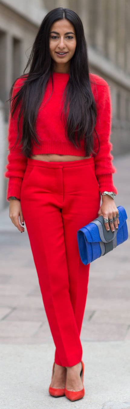 All Red Everything Crop Top Outfit
