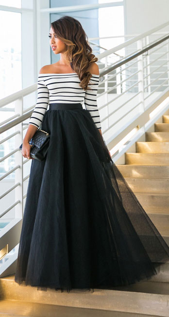 marvelous outfits with long black skirt women