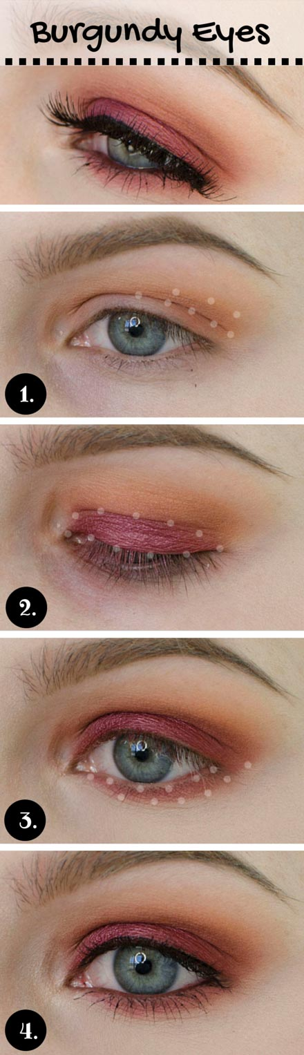 Burgundy Makeup Look for Blue Eyes