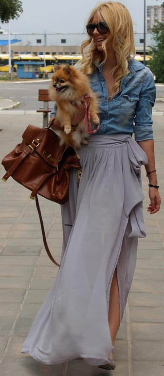Denim Blouse Grey Sheer Midi Skirt
