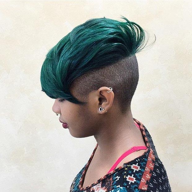 Green Hair Mohawk for Black Women