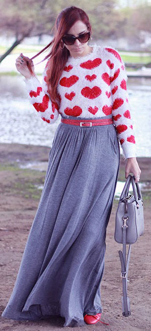 Grey Maxi Skirt Heart Sweater Outfit