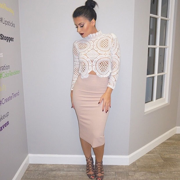 Lace Crop Top Nude Pencil Skirt Outfit