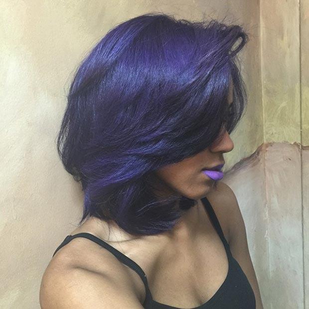 Layered Purple Bob for Black Women
