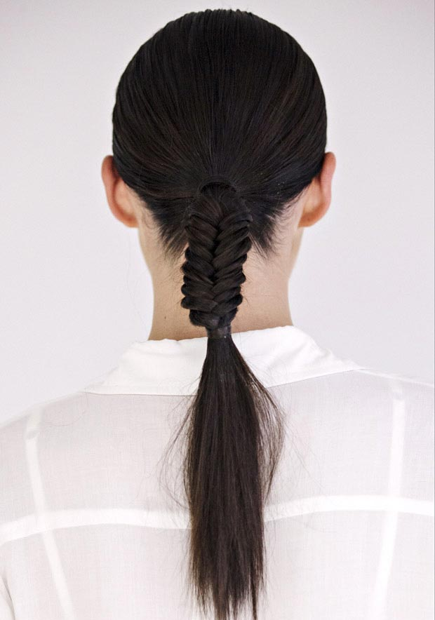 Low Half Fishtail Ponytail
