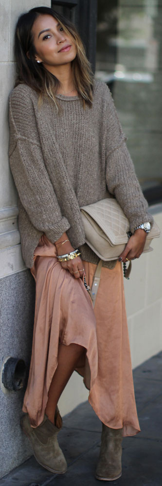 Maxi Skirt Ankle Boots Outfit