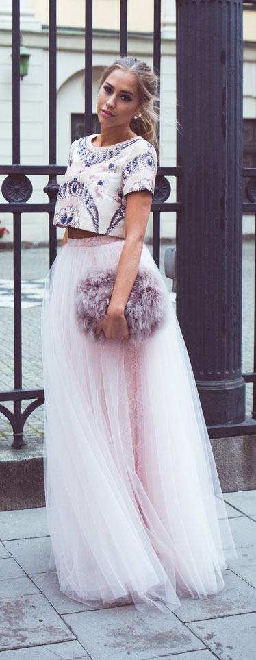 Pink Tulle Maxi Skirt Formal Outfit