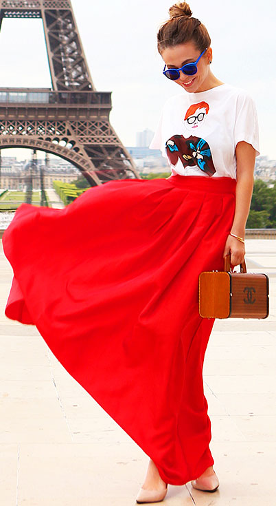 Red Maxi Skirt Print T Shirt Outfit
