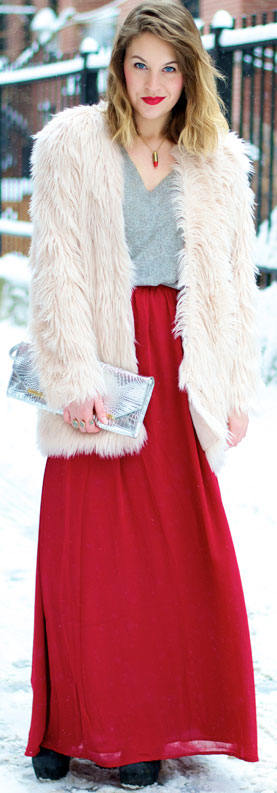 Red Maxi Skirt Winter Outfit