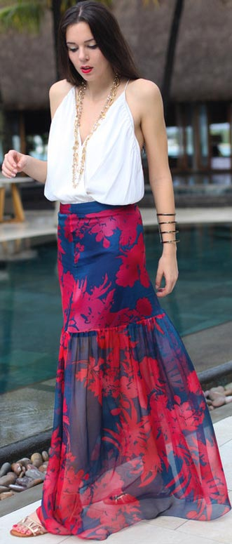 Red and Blue Maxi Skirt White Top Outfit