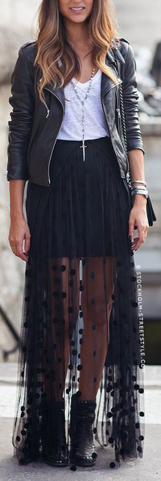 Sheer Polka Dot Maxi Skirt Outfit