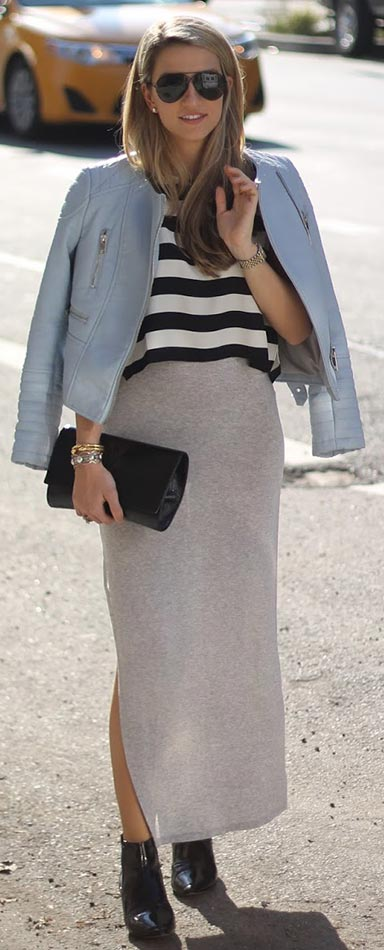 Striped Top Maxi Skirt Outfit