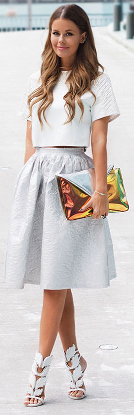 White Crop Top Midi Skirt Outfit