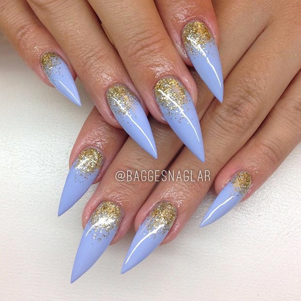 Baby Blue Gold Glitter Stiletto Nails - 30 Creative Stiletto Nail Designs StayGlam