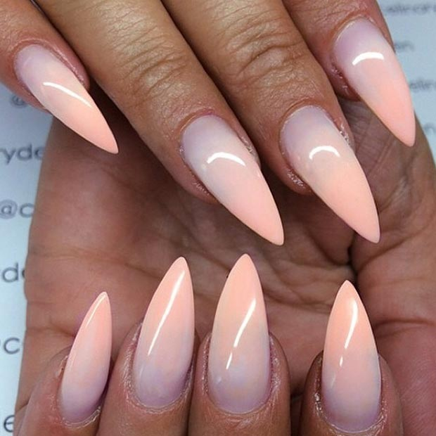 Ombre Stiletto Nail Design Peach Nails