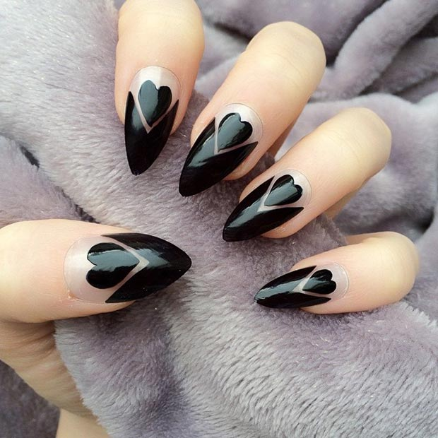 Black Hearts Stiletto Nails - 30 Creative Stiletto Nail Designs StayGlam