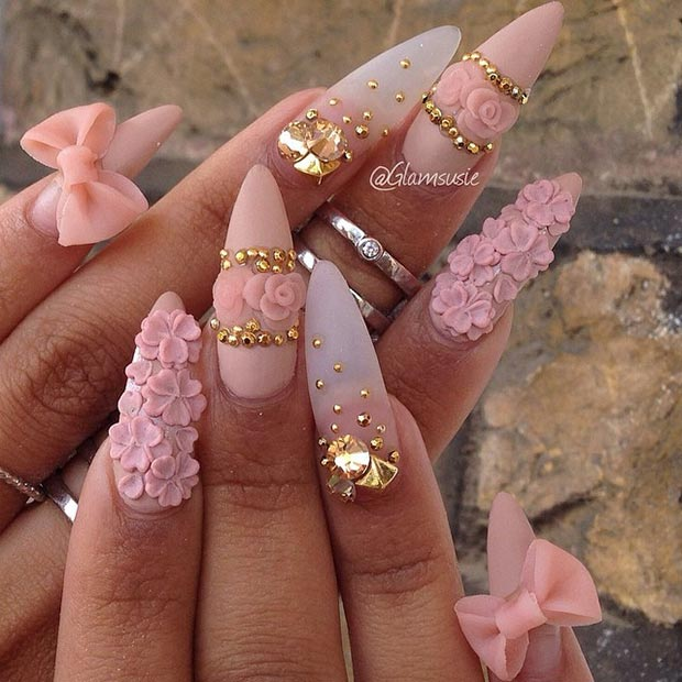 Pink Gold 3D Stiletto Nails - 30 Creative Stiletto Nail Designs StayGlam
