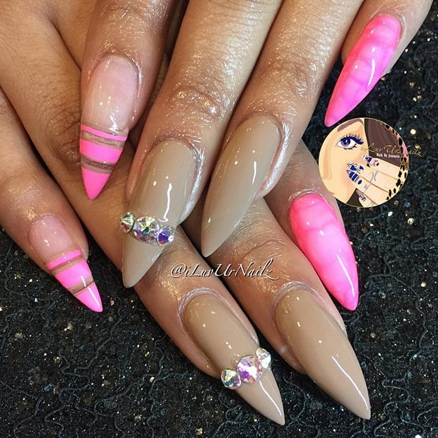 Neon Pink Stiletto Nails Nude Neon Pink Stiletto Nails - 52 Incredible Stiletto Nails You Would Love To Have....