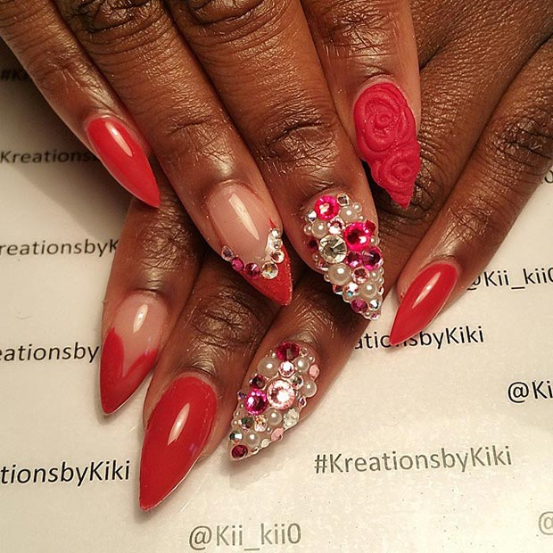 Red Rhinestones Stiletto Nails With
