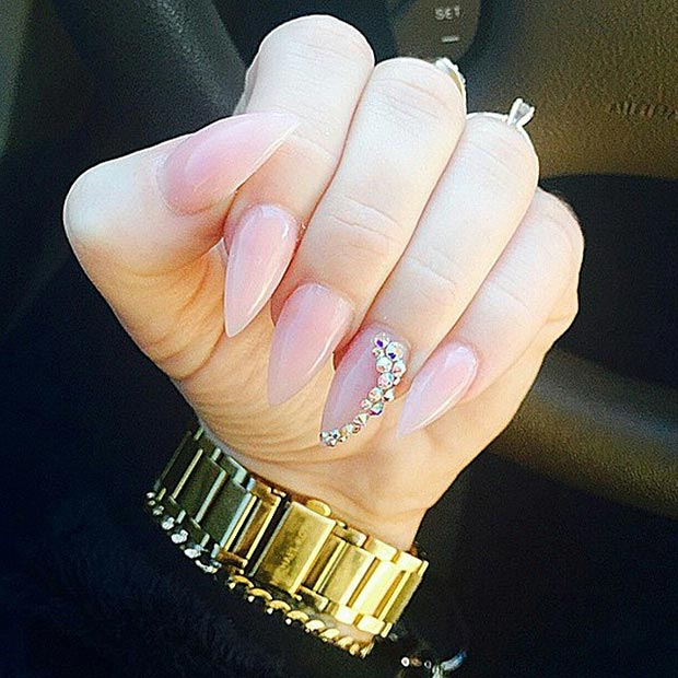 Nude Stiletto Nails Rhinestone Accent Nail - 30 Creative Stiletto Nail Designs StayGlam