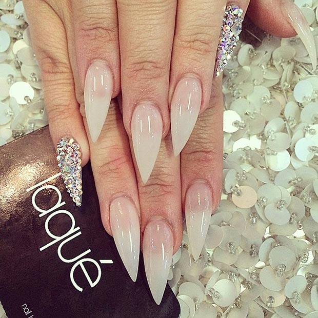 Nude Stiletto Nails Pinkie Accent Nail